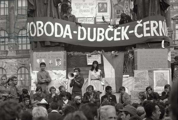 The students of the Prague Spring, 1968 (b/w photo)
