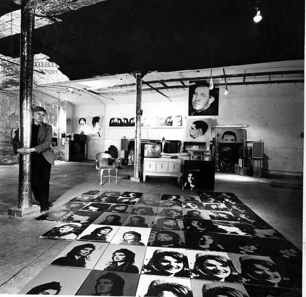 Portrait of Andy Warhol in his workshop The factory in NY, 1966 (b/w photo)