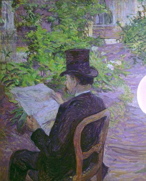 Désiré Dihau Reading a Newspaper in the Garden (Désiré Dihau, lecture d'un journal dans le jardin), by Henri de Toulouse-Lautrec, 1890, 19th Century, oil on canvas,  56 x 45 cm