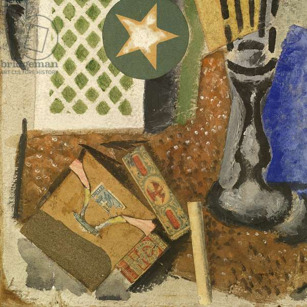Composition with Matches (Composizione con fiammiferi), by Ardengo Soffici, 1914, 20th Century, oil, tempera and collage on paper, 33,5 ? 23,5 cm