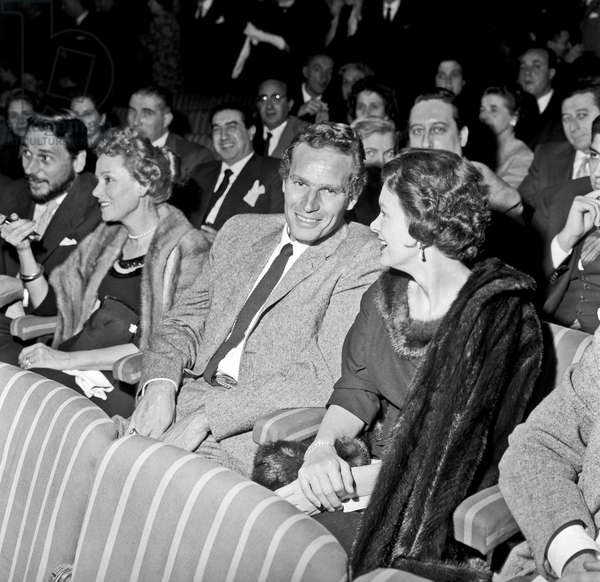 Charlton Heston with his wife Lydia Clarke at teatro Sistina, Rome, Italy, 1958 (b/w photo)