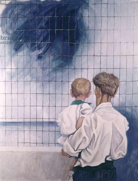 Man Holding in his Arms a Child Looking at the Sea (Uomo con bambino in braccio che guarda il mare), by Renato Guttuso, 1967, 20th Century, oil on canvas
