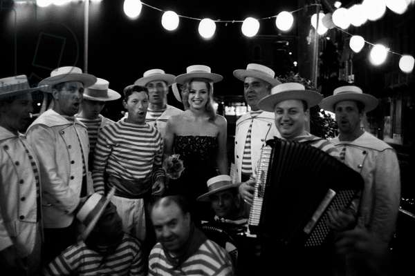 Margaret Lee and some gondoliers at 27th Venice International Film Festival