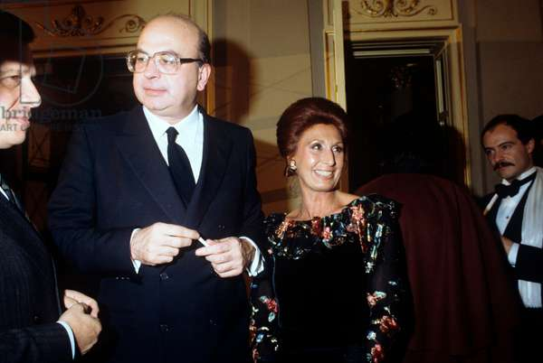 Bettino Craxi and Anna Moncini attending a social event