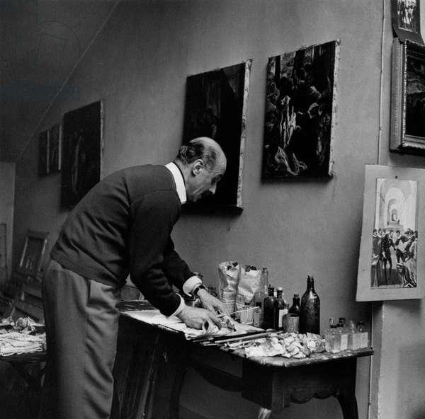 Gregorio Calvi di Bergolo is getting ready to paint, Italy