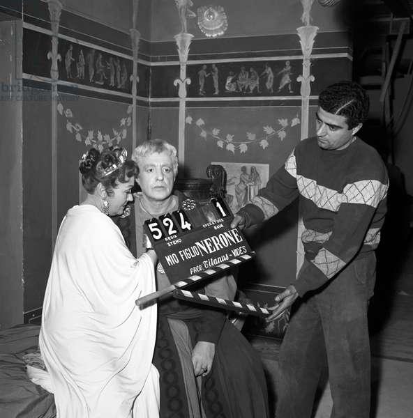 Vittorio De Sica on the set of Nero's Weekend, Italy, 1956 (b/w photo)