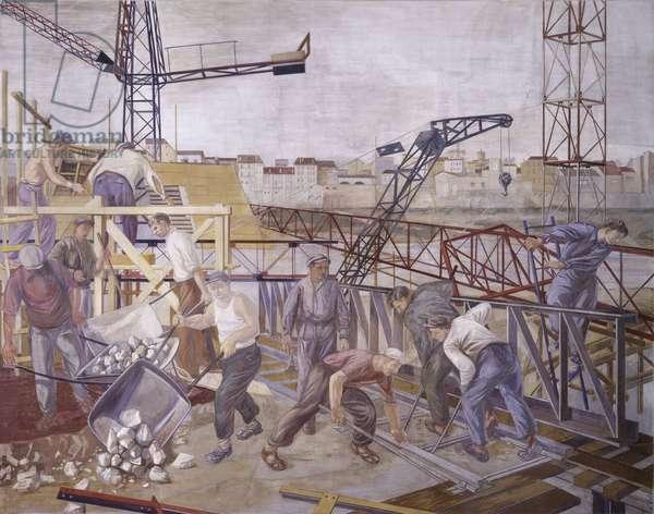 Building of a Bridge, by Armando Pizzinato, 1953, 20th Century, fresco