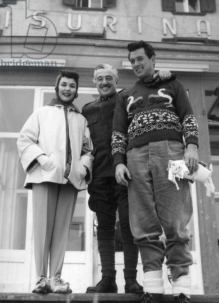 The actors in the film: Jennifer Jones, Vittorio De Sica and Rock Hudson , 1957 (b/w photo)