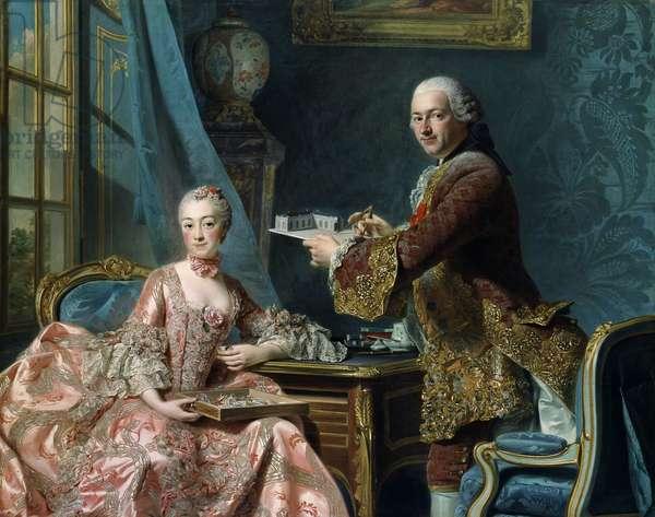 Madame de Pompadour with her brother, Abel François Poisson Marquis de Marigny, 1754