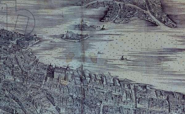 Prospective view of Venice, by Jacopo De Bernardi, 1498-1500, 15th century