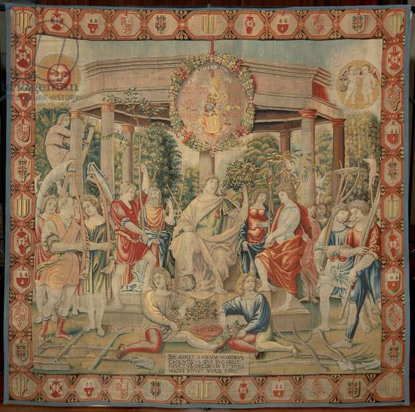 May (Maggio), by Benedetto da Milano upon drawing by Bramantino, c. 1503-1508, 16th century (tapestry)
