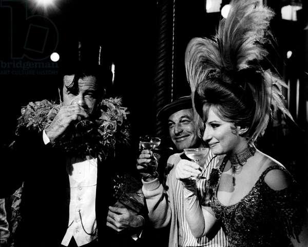 Walter Matthau, Gene Kelly and Barbra Streisand drink a toast, 1968 (b/w photo)