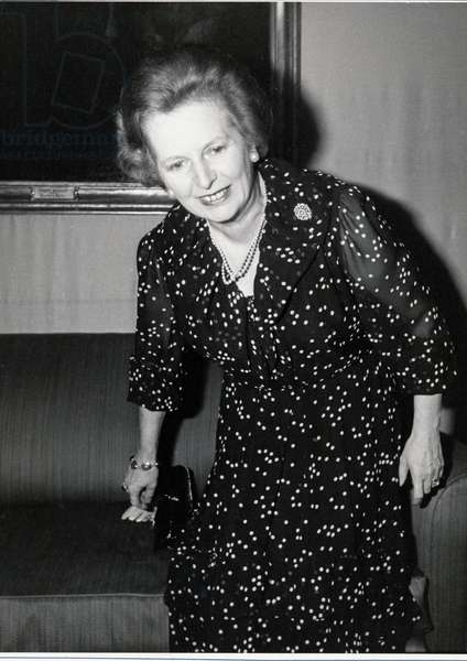 Margaret Thatcher smiling, 1980 (b/w photo)