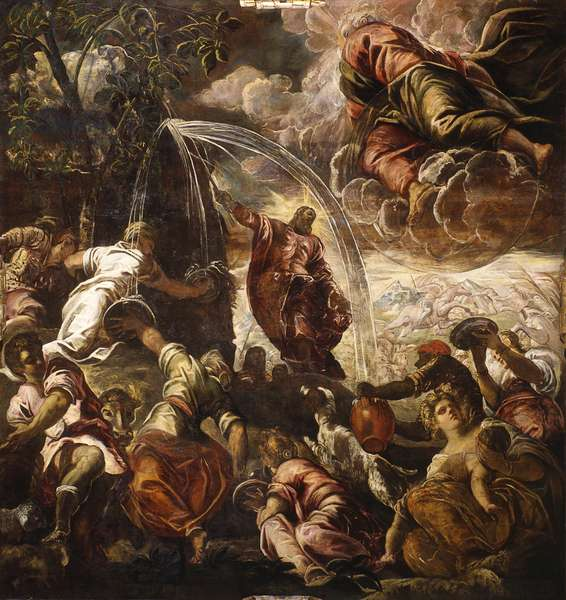 Moses Drawing Water from the Rock, by Jacopo Robusti called Tintoretto, 1577, 16th century, fresco.