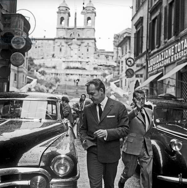Rainier III, Prince of Monaco visiting Rome, Rome, Italy, 1959 (b/w photo)