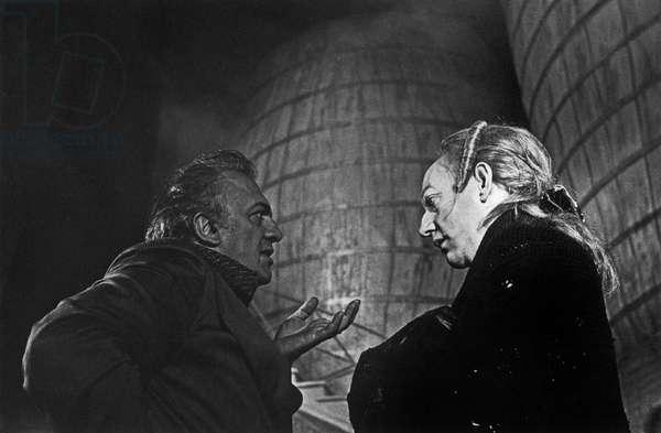 Federico Fellini and Sutherland on the set of Fellini's Casanova, 1976 (b/w photo)