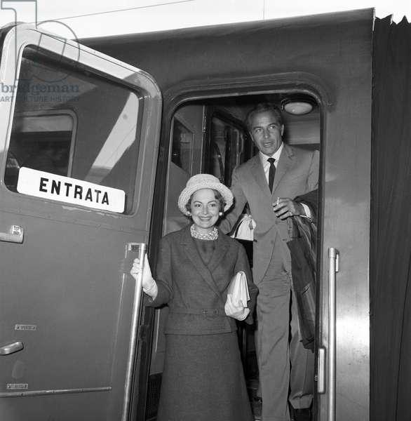 Olivia de Havilland and Rossano Brazzi, Italy, 1961 (b/w photo)