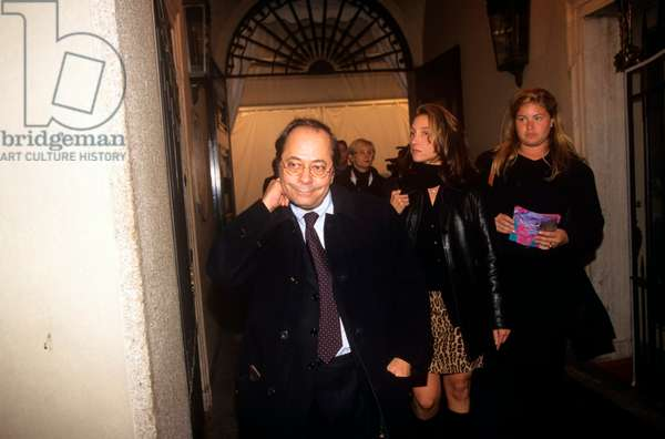 Giuseppe Turani at the Maison Versace for a fashion show, Milan, Italy