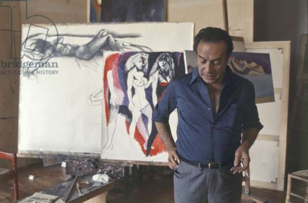 Renato Guttuso in his studio, Usmate Velate, Italy, 1980 (photo)