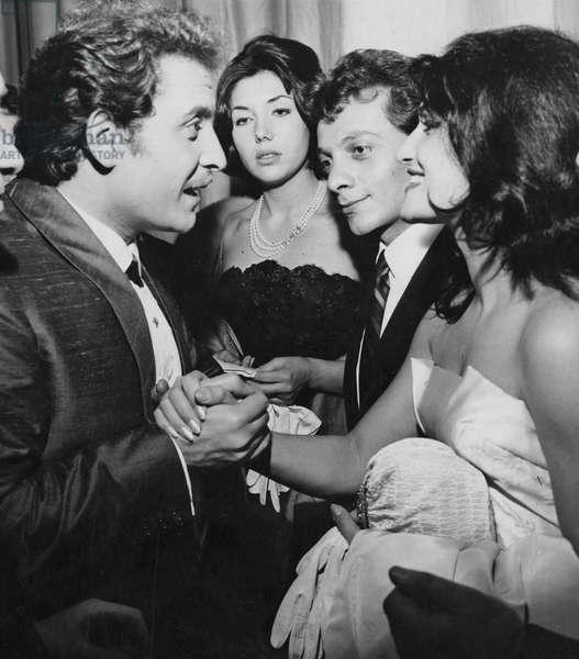 Domenico Modugno, Dalida and Lucien Morisse at the 10th Sanremo Music Festival