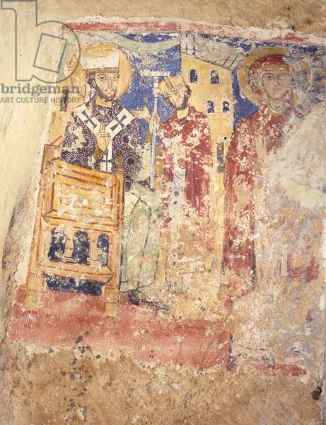 Urban II and a Saint, by Anonymous Painter, post 1093, 11th - 12th Century, fresco.