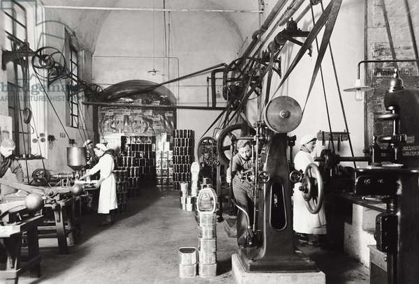 Workers in a factory, 1963 (b/w photo)