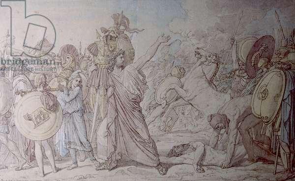 Romulus Winner of Acron (Romulus vainqueur d'Acron), by Jean Auguste Dominique Ingres, 1810, 19th Century, pen, brown ink, watercolour and graphite, 31 x 50,7 cm