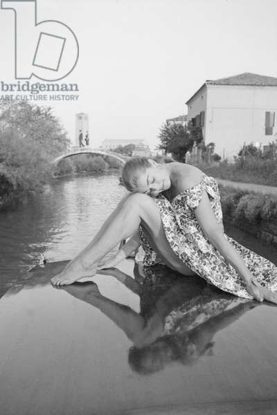 Esther Williams on a boat, Italy, 1957 (b/w photo)