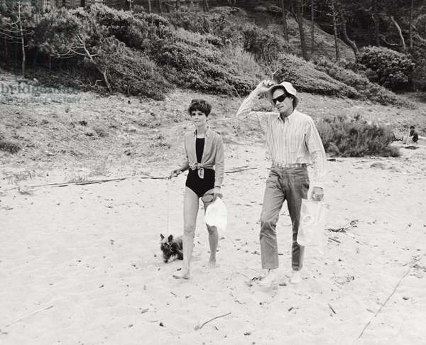 Audrey Hepburn and Mel Ferrer (b/w photo)
