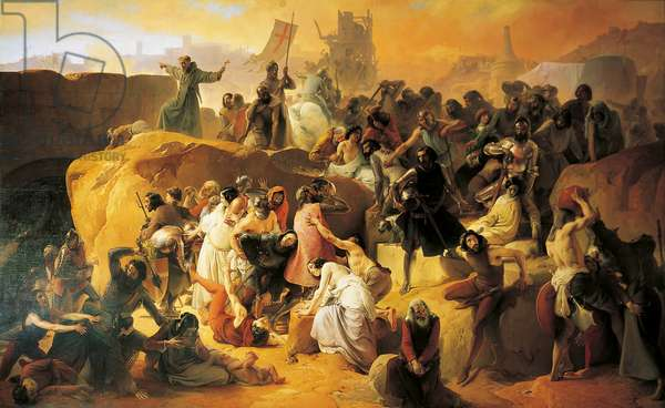 The Thirst Suffered by the First Crusaders in Jerusalem (La sete dei Crociati sotto Gerusalemme), by Francesco Hayez, 1838-1850, 19th Century (oil on canvas), 363 x 589 cm