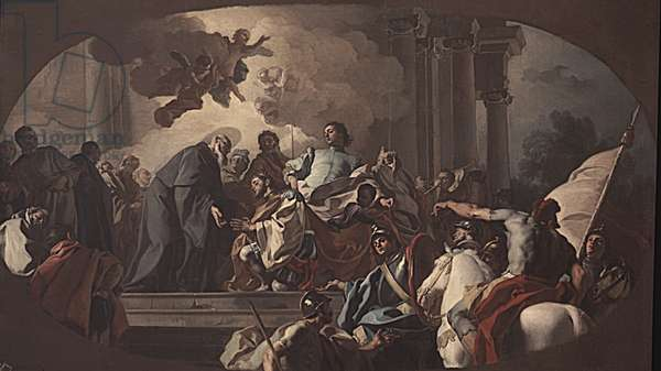Saint Benedict welcomes Totila (San Benedetto accoglie Totila), by Francesco De Mura, 1710, 18th Century