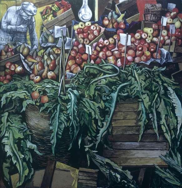 Marketplace (mercato), by Renato Guttuso, 1974, 20th Century, oil on canvas