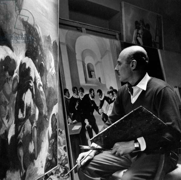Gregorio Calvi di Bergolo painting one of his large size canvasses, Turin, Italy