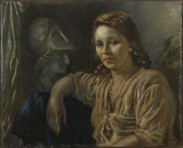 Portrait of Isa with Head of Minerva (Ritratto di Isa con testa di Minerva), by Giorgio De Chirico, c. 1944, 20th Century, olio su tela