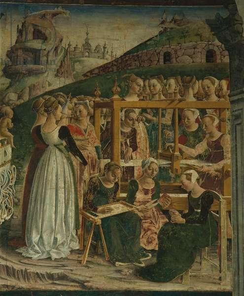 Allegory of March: Triumph of Minerva (Mese di Marzo: Trionfo di Minerva), by Francesco del Cossa, 1469 - 1470, 15th Century, fresco