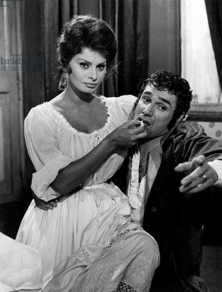 Sophia Loren and Robert Hossein in a scene from the movie 'Madame Sans-Gêne', 1961 (b/w photo)