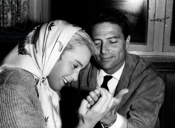 Maria Schell and Raf Vallone, 1956 (b/w photo)