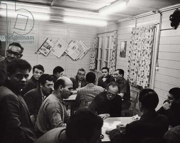 Workers during a break, 1963 (b/w photo)