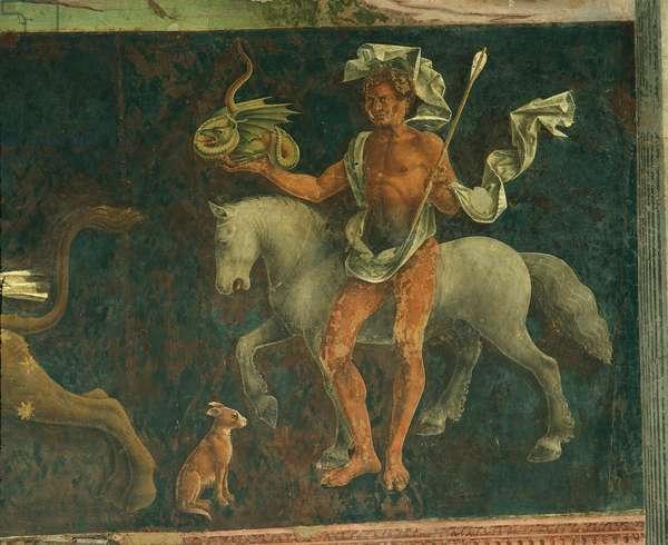Allegory of April: Astrological Symbols of Taurus (Mese di Aprile: Simboli astrologici del Toro), by Francesco del Cossa, 1469 - 1470, 15th Century, fresco