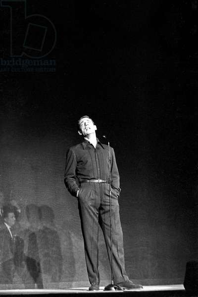 Yves Montand in concert, Rome, Italy, 1959 (b/w photo)