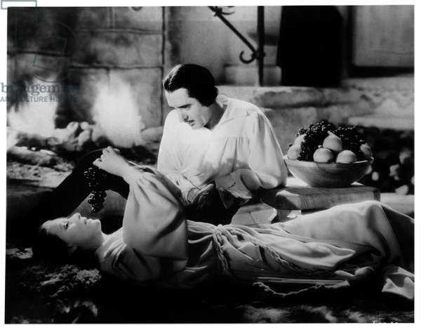 Greta Garbo and John Gilbert in 'Queen Christina', 1933 (b/w photo)