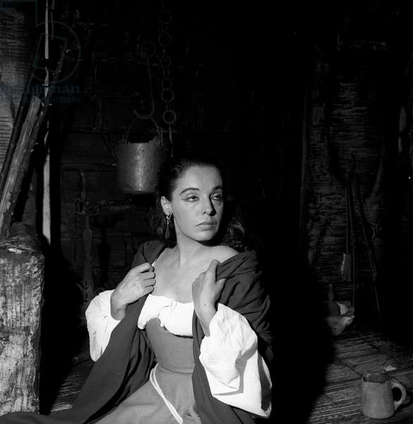 Anna Proclemer in traditional dresses in a theatre performance, 1957 (b/w photo)