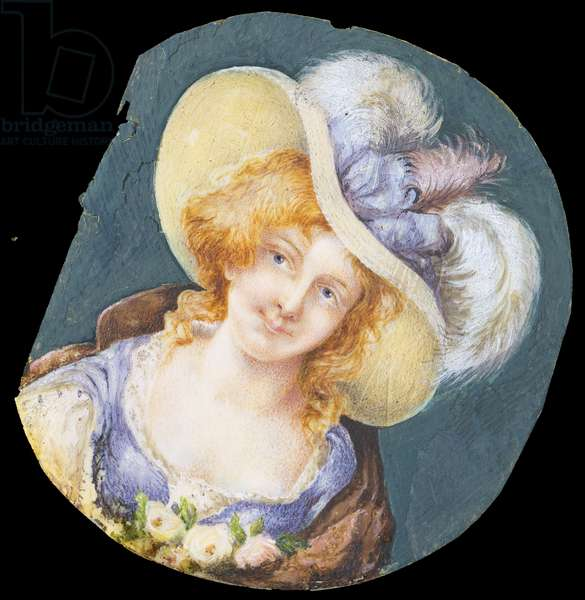 Portrait of a Woman, by Unknown French artist, 19th Century, oil on horn, 9 cm diameter