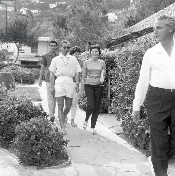 The Shah of Persia Mohammad Reza Pahlavi with his wife Soraya in Capri, 1959 (b/w photo)