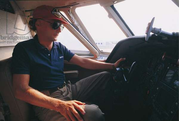 Niki Lauda in the cockpit of an airplane