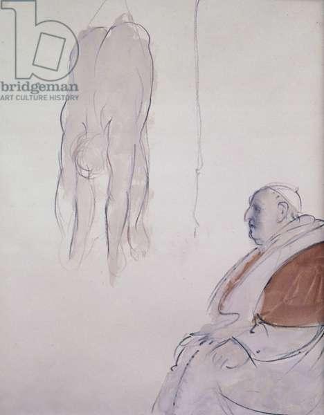 The Pope and a Preparatory sketch for the Door of the Death (Il Papa con un disegno preparatorio per la Porta della morte), by Giacomo Manzù, 1960, 20th Century, pencil and guache on paper, 56 x 44 cm