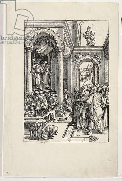 Presentation of the Virgin in the Temple, by Albrecht Durer, 1503, 16th Century (xylography)