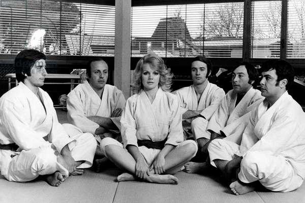 Carroll Baker plays judo, 1970 (b/w photo)