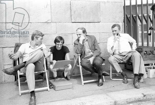 James Franciscus, Dario Argento and Karl Malden on the movie set of The Cat o' Nine Tails (b/w photo)