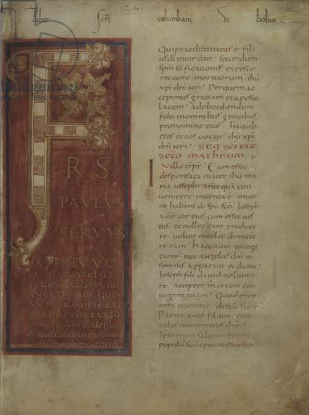 Illuminated Capital F with Purple Background, by Unknown Artist, Lectionary and the Gospels, cod. Ambr. C 228 Inf, f.4r, IX secolo, miniature